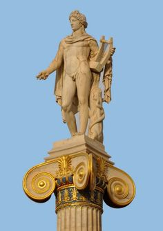 Apollo, god of light and the sun, truth and prophecy, healing, plague, music, poetry, and more.