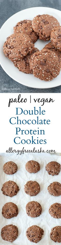Super delicious Paleo & Vegan Double Chocolate Protein Cookies. These nut-free cookies are packed with protein & healthy fats and are filling! Perfect for on-the-go travel.