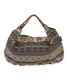 This Black & Beige Geometric Hobo Bag by Catori is perfect! #zulilyfinds