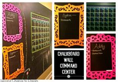 DIY Chalkboard Wall Command Center - Second Chance To Dream Without doubt one of my boys'requests wh Chalkboard Command Center, Family Command Center, Command Centers, Chalkboard Wall Bedroom, Chalkboard Decor, Chalkboard Lettering, Kids Office, Kids Wall Decor, Playroom Ideas