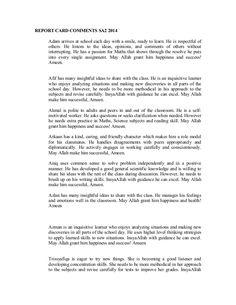 REPORT CARD COMMENTS 1) Adam Hanafi bin Masdi MasyaAllah, Adam got ...