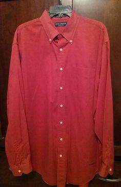 Men s Large Daniel Cremieux Red Long Sleeve Button-down Shirt EUC!