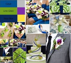 L and M wedding colors draft one! (collage of pinterest photos we liked) Main colors are navy blue, cobalt blue, lime green, slate gray with pops of purple and yellow