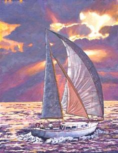 Sailboat painting with colorfull sunset?