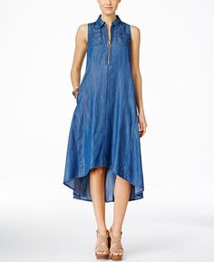 INC International Concepts Sleeveless High-Low Trapeze Denim Dress, Only at Macy's