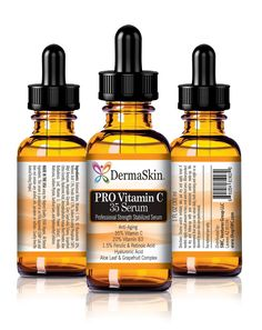 DermaSkin PRO Vitamin C 35 Serum, Anti-Aging, 35% Vitamin C, 20% B3, Ferulic, Retinoic and Hyaluronic Acid