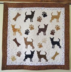 Chihuahua quilt throw size    53 x 53 inches by doodlebugquilts