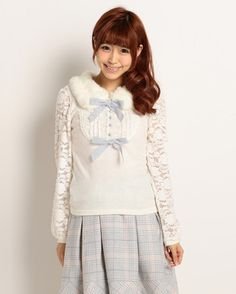 picture of LIZ LISA Faux Fur Collar & Lace Sleeve Top 1