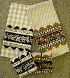 tea towels / great using boarder prints and rickrack