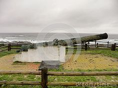 A side view of a bronze cannon from the ship wreck of the Sacramento of the coast of the Eastern Cape, South Africa.