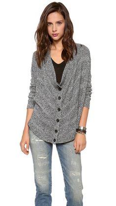 alice + olivia Alize Drape Front Marled Cardigan[sideways knit cardigan fronts]