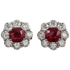 4.16 Carats Ruby and 3.78 Carats Diamond Cluster Earrings | From a unique collection of vintage stud earrings at https://www.1stdibs.com/jewelry/earrings/stud-earrings/