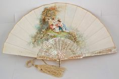 >y< century hand painted fan French