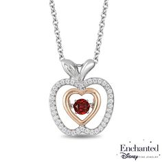Enchanted Disney Snow White 3.5mm Garnet and 1/6 CT. T.W. Diamond Pendant in Sterling Silver and 10K Rose Gold - 19