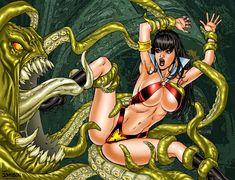Vampirella vs Tentacles by Superheroine-Art on DeviantArt