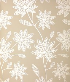 Chenar Wallpaper Stylised foliage in pale grey and mica.
