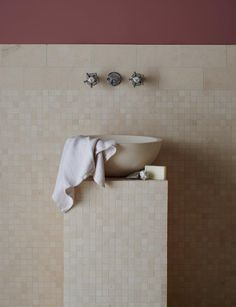 Flax Honed Limestone Mosaics & Mercury Honed Pluto Basin on a pedestal Limestone Tile, Stone Tiles, Best Bathroom Tiles, Bathrooms, Bathroom Vanities, Mandarin Stone, Outdoor Stone, Natural Stone Flooring, Garden Stones