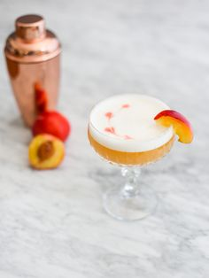 This fruity version of a whisky sour is made with Forty Creek® Whisky, fresh peaches, egg white, lemon, and honey. It is a delicious cocktail for a warm summer evening! Peach Drinks, White Cocktails, Sweet Cocktails, Fruity Cocktails, Champagne Cocktail, Summer Cocktails, Cocktail Recipes, Whiskey Honey Lemon, Peach Whiskey