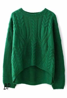 Emerald green cables on front, garter stitch on sleeves and back