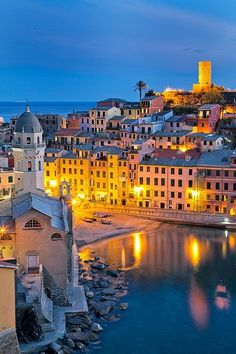 Beautiful night lights in Vernazza, Italy.