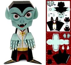 """Halloween Special - Lil-Vamp Paper Toy - by Papertoy Monsters  --          """"For a special, spooky Halloween craft, put together Lil Vamp from Papertoy Monsters. Grab some glue and scissors and everything else you need is right here!"""" - Paper Monsters"""
