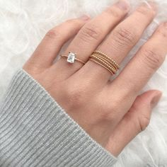 White Sapphire Ring 14K ring Unique engagement ring Diamond