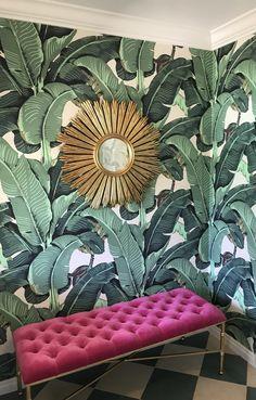 The Original Beverly Hills Martinique Banana Leaf Wallpaper – Designer Wallcoverings and Fabrics Palm Leaf Wallpaper, Home Wallpaper, Wallpaper Designs, Classic Wallpaper, Original Wallpaper, Beverly Hills Hotel, New Room, Showroom, Bedroom Decor