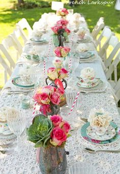 Outdoor luncheon with roses lace and floral china. French Larkspur blog: Original design by: 3 French Hens