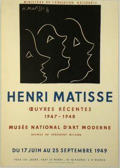 Original Künstler Plakat Matisse Original Artist Poster Matisse Affiche original Henri Matisse  title Oeuvres recentes  technology Color lithograph