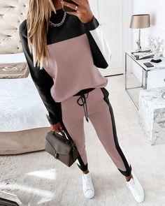 Trend Fashion, Fashion Outfits, Womens Fashion, Leather Crop Top, Looks Plus Size, Drawstring Pants, Jogging, Long Sleeve Tops, Ideias Fashion