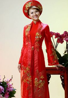 Home :: Wedding Ao Dai :: Red :: Red Wedding Ao Dai WR230