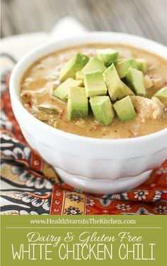 White Chicken Chili (Dairy-Free, Grain-Free, Gluten-Free & Paleo) White Chicken Chili {Dairy-Free, G Chili Recipes, Diet Recipes, Cooking Recipes, Healthy Recipes, Paleo Meals, Soup Recipes, Freezer Cooking, Cooking Oil, Sausage Recipes