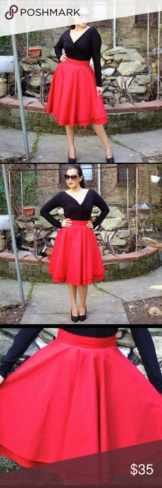 ModCloth Red Full Circle Skirt This is an amazing skirt thy would be perfect for Christmas/Holiday season. It is a full circle skirt by Modcloth. Love dressing it up with pearls and a bun or pony tail for an Audrey Hepburn look. Excellent condition. NO trades. NO Pal. Price is firm. ModCloth Skirts A-Line or Full