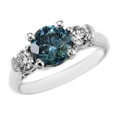 2.16ct SI1 Fancy Blue Diamond Engagement Ring Gold Platinum - Jewelry Point