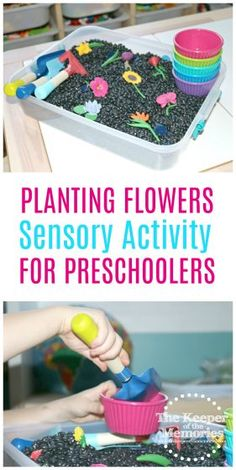 Flowers Sensory Bin Gardening Activity for Preschoolers Check out this awesome planting flowers gardening play sensory activity for little kids.Check out this awesome planting flowers gardening play sensory activity for little kids. Sensory Activities For Preschoolers, Spring Activities, Preschool Learning, Learning Activities, Preschool Activities, Teaching, Flower Activities For Kids, Nutrition Activities, Preschool Flower Theme