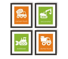 Construction Truck Wall Art  Boys Bedroom Decor  par twowhiteowls, $52.00