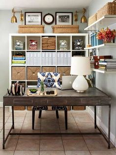 Love this quaint and stylish home office from Better Homes and Gardens that just looks so lovely and clears all of the office clutter in such a functional way!