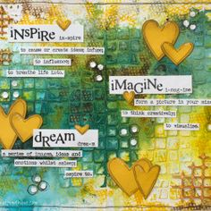 Visible Image stamps - Imagine - Dream - Inspire - Journal Pages - Elina Art Journal Pages, Art Journals, Kunstjournal Inspiration, Art Journal Inspiration, Journal Ideas, Creative Inspiration, Mixed Media Journal, Mixed Media Art, Art Doodle