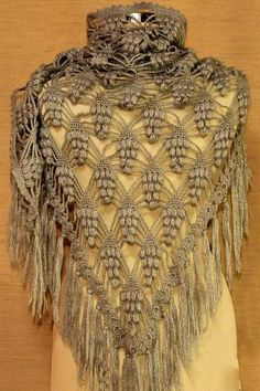 Crochet Xailes: Crochet Xaile - New rendas Pineapple                                                                                                                                                      Mais