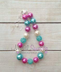 Hot pink aqua and Ivory chunky necklace by MyLilSweetieBoutique #chunkynecklace #pearlnecklace #mylilsweetieboutique #handmade #customnecklace #weddingjewelry #photoprop #girlsnecklace