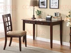 2 Piece Writing Desk U0026 Chair Set In A Rich Cherry Finish By Coaster Http: