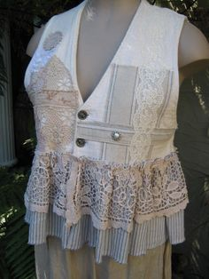 VINTAGE KITTY.. bonjour vest.. doilies, lace, french ticking,  one of a kind.. blue, ecru, stripes.. LARGE..
