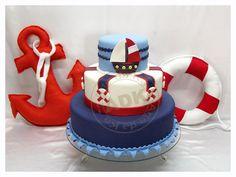 bolo marinheiro boia e ancora de feltro