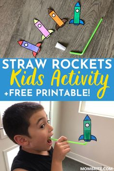 Stuck indoors with your kids on a rainy day and need a fun yet easy to make activity? This super cool Straw Rockets Kids Activity is a great boredom buster and fun thing for kids to do indoors! Click here to learn how to make these straw rockets and grab your FREE printable too.    #DIYStrawRockets #FunIndoorActivityForKids #BoredomBusterActivitiesForKids