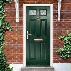 External Virtuoso Carlton Two Brolo Composite Door, Shown in Green. House Front Door, House Doors, House Entrance, Entrance Doors, Front Door Decor, Behind The Green Door, Green Front Doors, Front Door Paint Colors, Painted Front Doors
