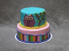 Owl themed birthday cake for a girl