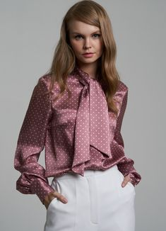 Шелковая блузка с бантом — Roseville.ru