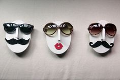 "Eyeglasses holder, faces with listick and mustaches - ""Mr. Musta"", designed by DaN"