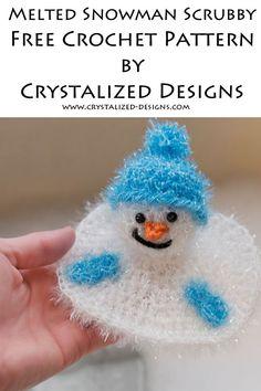 Melted Snowman Kitchen Scrubby Free Crochet Pattern by Crystalized Designs Crochet Christmas Gifts, Christmas Crochet Patterns, Holiday Crochet, Crochet Gifts, Free Crochet, Crochet Pig, Christmas Sewing, Christmas Stuff, Crochet Ideas