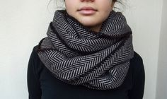 Super Warm Infinity Scarf Wool Blend Brown & Beige - Herringbone Winter Fashion-Neck Warmer- Cowl. $29.00, via Etsy.